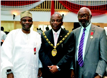 L-R: Pharm. NAE Mohammed, registrar, Pharmacists Council of Nigeria (PCN) and Fellow, NIM; Pharm. (Dr) UNO Uwaga, president and chairman of council, Nigerian Institute of Management (NIM) and Pharm. (Sir) Ifeanyi Atueyi, managing director, Pharmanews Ltd and Fellow, NIM during the Awards, Fellows & Spouses' Day Luncheon, organised by NIM and held at Muson Centre, Lagos, recently.