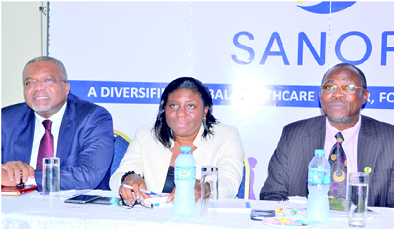 L-R: Dr Fifen Inousa, medical director, Sanofi; Dr Ekanem Ekure, consultant paediatrician, LUTH; and Prof. Adebiyi Olowu, president, Paediatric Association of Nigeria ( PAN), during the press parley held at Protea Hotel, Ikeja, Lagos, recently