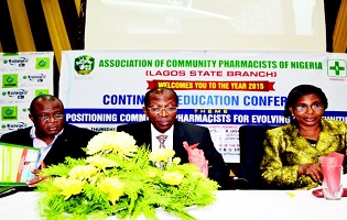 L-R, Pharm. Ike Ugwu, keynote speaker; Prof. Bola Sylva, dean, Faculty of Pharmacy, UNILAG and Pharm. Abiola Paul-Ozieh, chairman, ACPN, Lagos Chapter, at the Continuing Education Conference organised by the Association of Community Pharmacists of Nigeria (ACPN), Lagos State Branch, at NECA House, Alausa Ikeja, Lagos