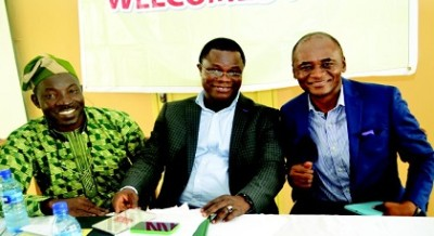 L-R: Pharm. Gafar Madehin , Secretary, Lagos PSN; Pharm. Gbenga Olubowale, chairman, Lagos PSN and Pharm. Harry Ikechukwu Nnoli, keynote speaker, during the induction ceremony of new pharmacists held in Lagos recently