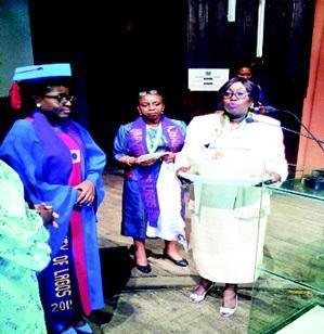 "Pharm Titilayo Ajayi receiving the ""Bowl of Hygeia"" from Pharm (Chief) Yetunde Morohundiya, former national chairman of Association of Lady Pharmacists (ALPS); Pharm (Mrs) Ogochukwu Amaeze, NAPA financial secretary and Prof. Olukemi Odukoya, former dean of the Faculty."