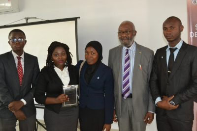 2017 WINNERS: Kazeem Folarin (also won 'Best Chief Speaker' award), Temiwunmi Akinmuleya, Khadeejah Babalola and Aliu Raji in a group photograph with the patron, Sir Ifeanyi Atueyi