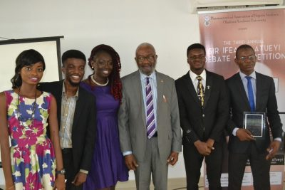L-R: Tobi Adeoye, compere; Jesujoba Ojelabi, PANS national editor-in-chief; Maryam Bajepade, PANS OAU editor-in-chief; Sir Ifeanyi Atueyi, managing director of Pharmanews Limited; Emmanuel Oluwagbade, PANS OAU president and AbdulQudus Ojomo, member, organising committee.