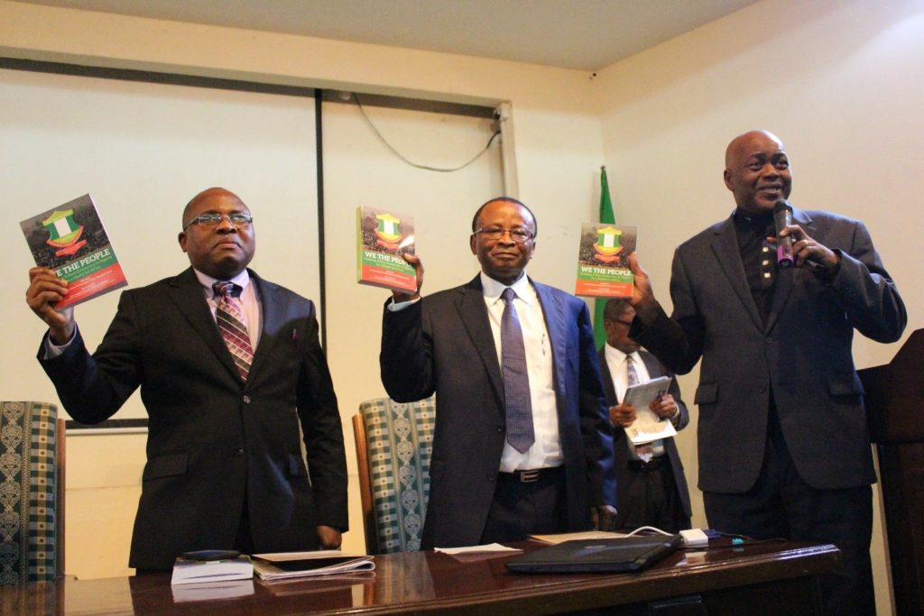 L-R: Pastor Philip Akinola, vice chairman, Congress on Christian Ethics in Nigeria (COCEN); Prof. Peter Nwangwu, the book editor and Dr. Fred Odutola, chairman of the occasion during the presentation.