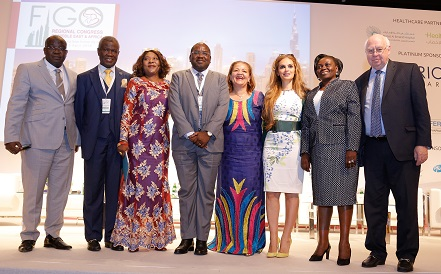 Dr. Latoundji Mohamed Chakirou, President of GIRAF, Republic of Benin, Prof. Oladapo Ashoru, President of the Africa Fertility Society, Nigeria, Hon. Zuliatu Cooper, Minister of Health & Sanitation, Republic of Sierra Leone, Hon. Dr. Chitalu Chilufya, Minister of Health, Republic of Zambia, Hon. Margaret Mensah-Williams, Chairperson of the National Council, Republic of Namibia, Dr. Rasha Kelej, CEO Merck Foundation, Hon. Sarah Achieng Opendi, Minister of State of Health, Republic of Uganda, and Dr. Joe-Leigh Simpson, Professor of Human and Molecular Genetics/ Professor of Obstetrics and Gynecology at Florida International University