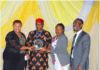 L-R: Pharm. Foluke Akinniranye, chief retail operations officer, HealthPlus Limited; Pharm. (Mazi) Sam I. Ohuabunwa, president PSN; Pharm. Toyin Arifayan, head, School of Pharmacy, HealthPlus Limited; Pharm. Valentine Ezeanochikwa, pharmacy manager, HealthPlus Limited receiving PSN Presidential Award for practicing pharmacy in the most ethical manner at the Pharmaceutical Society of Nigeria (PSN) 92nd Annual National Conference held in Kaduna, Kaduna State, recently.