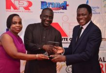 L-R: General Counsel, XLR8, Mrs Alero Okoruwa; Chairman, Education Advisory Board and Member of Nigerian Institute of Public Relations (NIPR) Council, Prof. Emmanuel Dandaura; and CEO, XLR8, Mr Calixthus Okoruwa, during the presentation of NIPR's Corporate Practitioner of Excellence Presidential Award for 2019 to XLR8, at the 2019 Presidential Dinner and Awards ceremony, held in Lagos, recently.