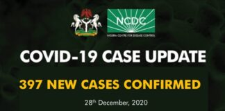 NCDC Confirms 10 More Deaths from COVID-19, 397 New Infections