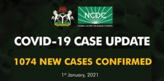 Nigeria on the first day of 2021 recorded five more deaths from COVID-19 and 1074 new infections, making total cases confirmed to be 88587.